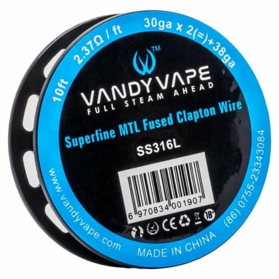 VandyVape SS316L Superfine MTL Fused Clapton 10FT / 3m